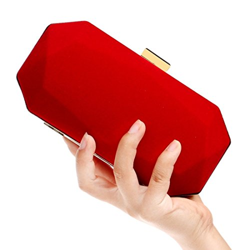 Women's Bag Banquet Red KERVINFENDRIYUN Red Handbag Clutch Suede Purse Color Evening SOqxpqA