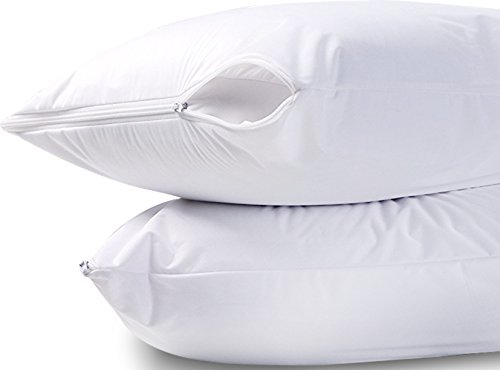 Bed Bugs Bedding - Utopia Bedding Waterproof Zippered Pillow Encasement Bed Bug Proof Pillow Cover Protects Against Dust Mite, Bacteria, Allergens - Polyester Jersey Fabric Pillow Protector (White, Queen)