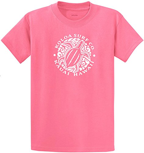 Joe's USA Koloa Surf Hawaiian Turtle Front Logo Heavyweight Cotton T-Shirt-Candy/w-4XL