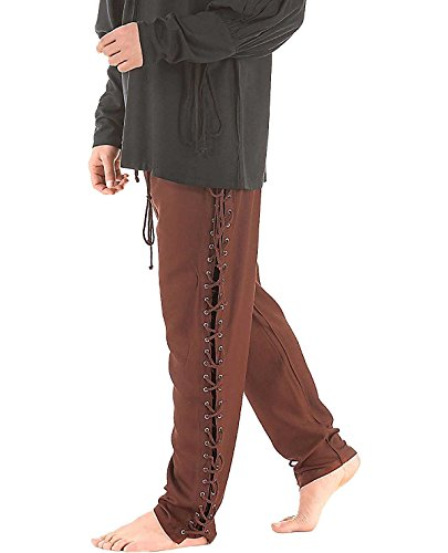 ThePirateDressing Medieval Renaissance Pirate Lace-up Pants Costume C1122 [Chocolate] (Pirate Chocolates)