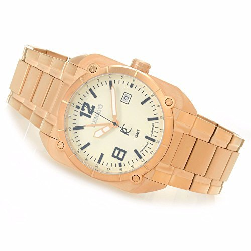Renato Men's Quadro Aviator Luminous Dial Swiss GMT Rose Gold Tone Watch SQR.LUM.SQR.515