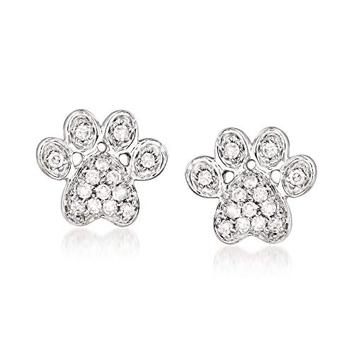 Ross-Simons Diamond-Accented Paw Print Earrings in Sterling Silver