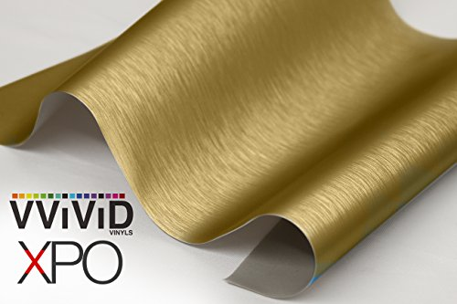 "VViViD Anodized Brushed Steel Textured Adhesive Craft 12"" x 60"" Vinyl Roll for Cricut, Silhouette and Cameo Including 12"" x 12"" Transfer Paper (Gold)"