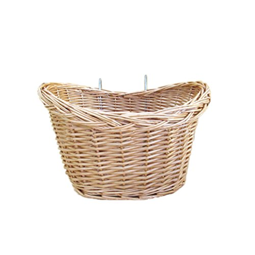 WINOMO Bicycle Basket Outdoor Cycling Storage Environment-protective Hand-Woven Willow Wicker Detachable Front Handlebar Bike Basket( (Willow Bike Baskets)