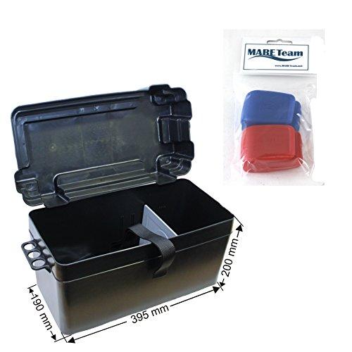 Batteriekasten mit Befestigungsgurt und zusätzlicher Trennwand 395 x 190 x mm incl. Batteriepolklemmen mit Schnellverschluss