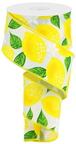 Wired Ribbon 2.5 X 10 Yard Lemons On Royal Canvas Ivory Yellow Green for Wreaths Gift Wrapping Spring Summer
