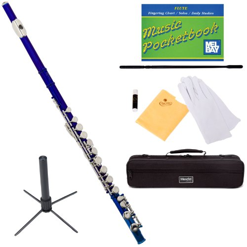 Mendini Closed Hole C Blue Flute with Stand, 1 Year Warranty, Case, Cleaning Rod, Cloth, Joint Grease, and Gloves - MFE-BL+SD+PB