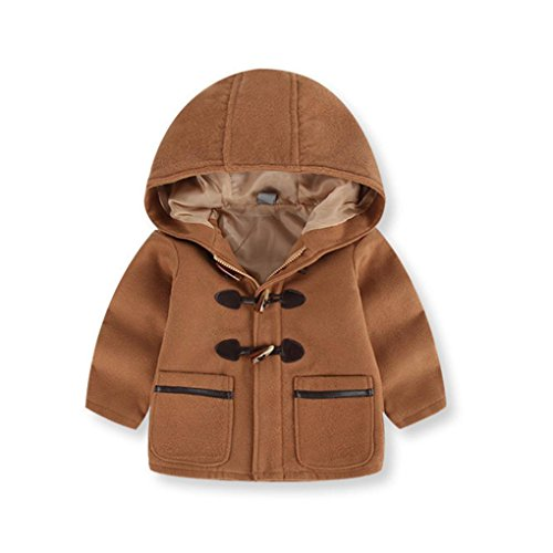 AutumnFall Kids Coat,Baby Boys Hooded Zipper Button Jacket Cotton Autumn Winter Thick Warm Clothes (Brown, (Birthday Warm Jacket)