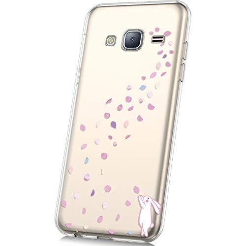 (PHEZEN Galaxy J3 Case,Galaxy Express Prime/Galaxy Amp Case,Galaxy Sky/J3 V Case,Cute Art Design Ultra Thin Anti-Scratch Flexible TPU Gel Rubber Soft Skin Silicone Protective Case Cover,Cherry Rabbit)
