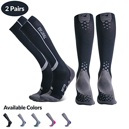 Thirty48 Elite Compression Socks, Graduated 20-30mmHg Compression for Performance and Recovery (S/M (US Women 7-10.5 / US Men 6-9.5), [2 Pairs] Black/Grey) (Right Leg Shorter Than Left Leg Symptoms)