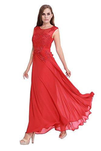 Junai Women's Chiffon Capped Long Evening Dress Red US 4