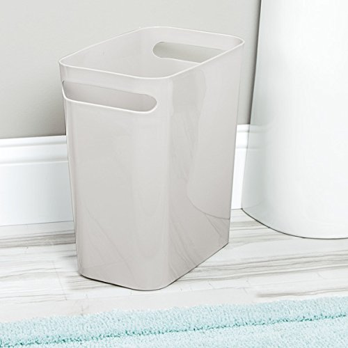 mDesign Slim Rectangular Small Trash Can Wastebasket, Garbage Container Bin with Handles for Bathrooms, Kitchens, Home Offices, Dorms, Kids Rooms — 12 inch high, Shatter-Resistant Plastic, Light Gray