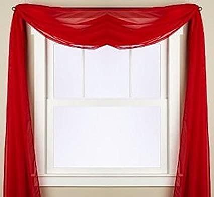 Gorgeous Home 1 PC SOLID RED SCARF VALANCE SOFT SHEER VOILE WINDOW PANEL  CURTAIN 216u0026quot;