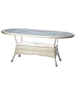 Prospect Hill Weather-Resistant Outdoor Resin Wicker Oval Dining Table with Powder-Coated Aluminum Frames, in Antique White