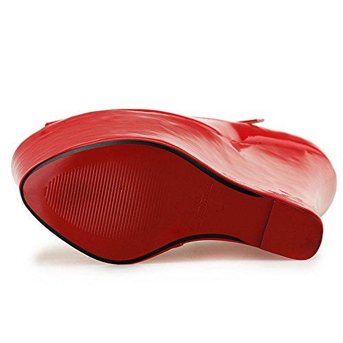 abierta Tacón y Otoño negocios de Cuero Rojo ropa alto Plataforma Fiesta Otoño L Mujeres YC 22cm Oficina gxCq44
