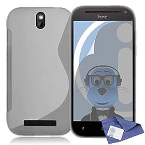 iTALKonline HTC One SV CLARO TRANSPARENTE Grip Wave S-Line TPU Gel caso de la cubierta suave de la piel delgada con protector de pantalla y paño de Microfibre