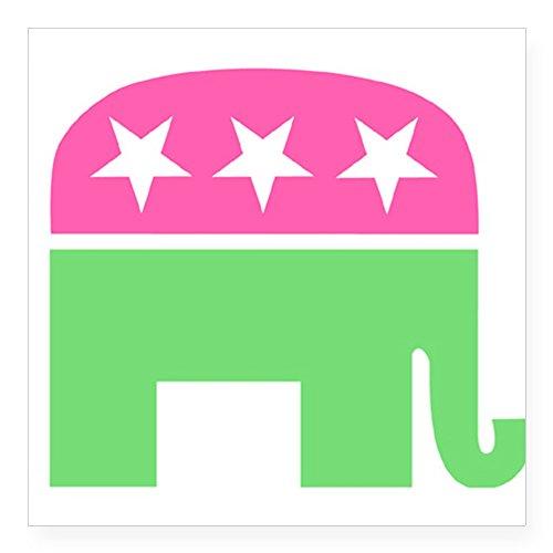 (CafePress Preppy Elephant Oval Sticker Square Bumper Sticker Car Decal, 3