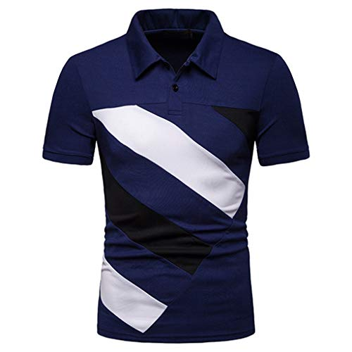 Bar Stripe Jersey Polo - TANGSen Men Fashion Personality Short Sleeve Stripe Patchwork Large Size Casual Top Blouse Shirts Summer Polo Shirt 582 Navy