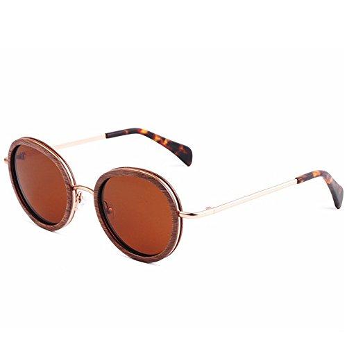 de protección Gafas Playa al Pesca de de Exquisito y polarizadas Aclth Gafas Madera Estilo Gafas UV TAC Libre Mano de Retro Metal conducción Redondo Lente Aire a Sol pequeño Marrón esq Hecho Sol de 1qpUBg