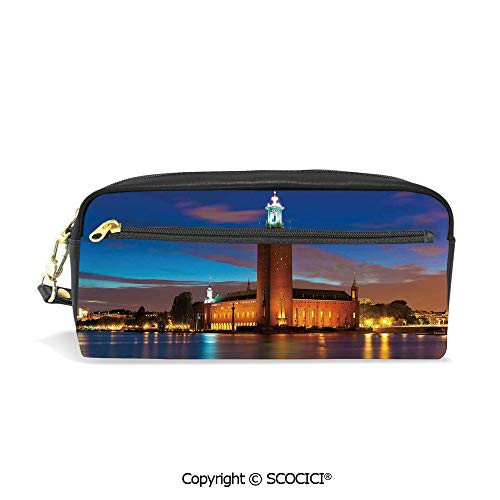 Stockholm Desk Phone - Printed Pencil Case Large Capacity Pen Bag Makeup Bag Stockholm Scenic Night at City Hall Old Town Enchanted Town Sweden View for School Office Work College Travel