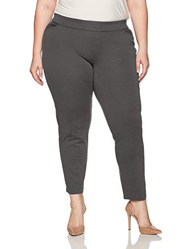 Chic Classic Collection Women's Plus Size Knit Pull-on Pant, Asphalt, 26A