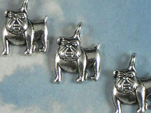 Lot 12 Bulldog Charms 17mm x 13mm Dog Antiqued Silver Tone Cute Pet Charm Vintage Crafting Pendant Jewelry Making Supplies - DIY Necklace Bracelet Accessories CharmingSS ()