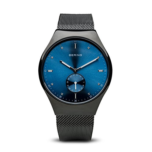 BERING Time 70142-227 Men Smart Traveler Collection Watch with Stainless-Steel Strap and scratch resistent sapphire crystal. Designed in Denmark