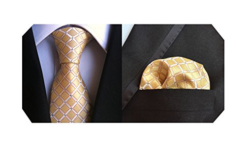 Black Silver Tie - MENDENG Men's Silver Black Paisley Stripe Plaid Silk Tie Necktie Hanky 2 Pcs Set
