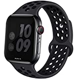 EXCHAR Sport Band Compatible with Apple Watch Band 38mm 40mm Breathable Soft Silicone Replacement Wristband Women and Man for iWatch Series 5 4 3 2 1 Nike+ All Various Styles S/M Grey-Black