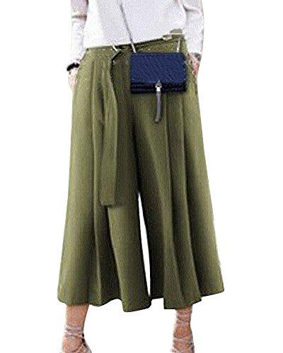 Donna A Alta Cintura Palazzo Pantalone Eleganti Plissettata Di Con Esercito Verde Anyua Vita Pantaloni 6Udq6A