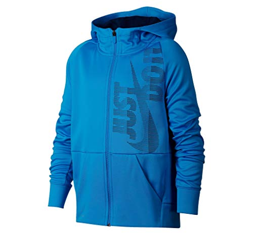 Nike Big Boys' Dri-Fit Therma Legacy Just Do It Zip Hoodie (Blue Hero, Medium)