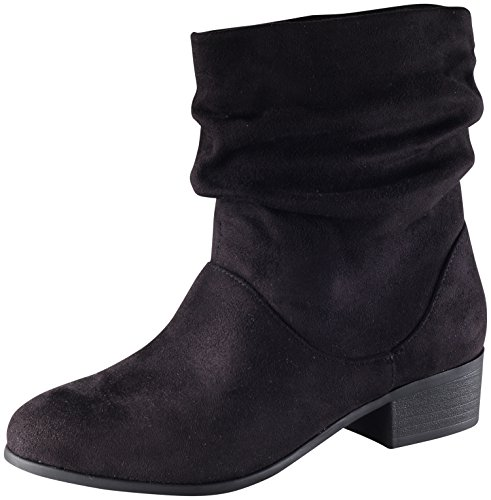Microsuede Slouchy Boots - Soda Women's Energy Slouchy Round Toe Sueded Boot (7 B(M) US, Black)