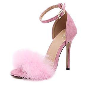 MMJULY Women's Open Toe Ankle Strap Fluffy Feather Stiletto High Heel Dress Sandal
