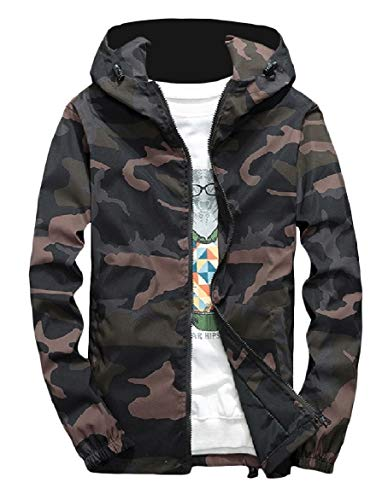 Howme Zip Outwear Windbreaker Jacket Camo Green Full Style Men College Hooded BXwCBqr