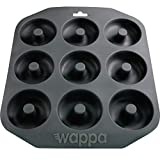 Wappa 1 Large Pan Super Non-Stick Silicone, Makes 9 Full Size Donuts, BPA Free, FDA & German LFGB Approved | Oven and Dishwasher Safe Doughnut Mold, Dark Gray