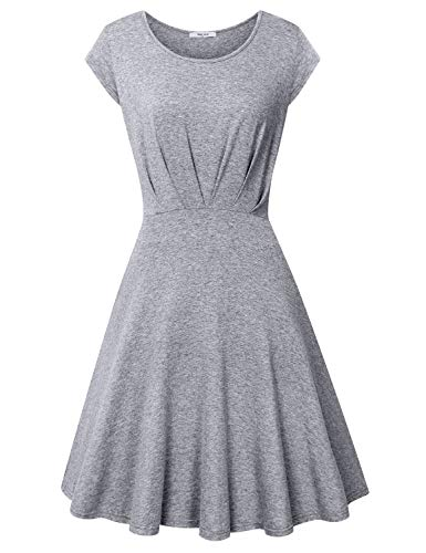Diphi LiLi Women's Pleated Elegant A Line Scoop Neck Cap Sleeve Dress (Grey, Small)