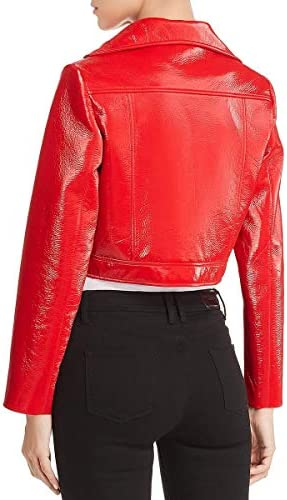 Elie Tahari Womens Gigi Faux Leather Cropped Motorcycle Jacket Red L
