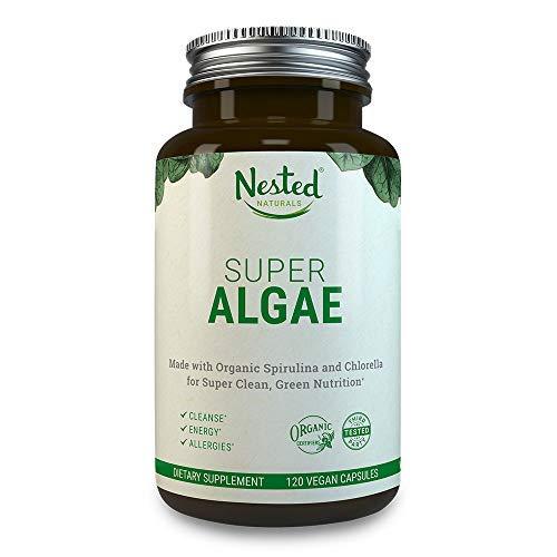 Super Algae 500mg   120 Vegan Capsules   50/50 Spirulina + Chlorella Superfood Powder   Support Healthy Detox Cleanse & Gut Health   Naturally Sourced Made with Organic Blue Green Algae Supplement