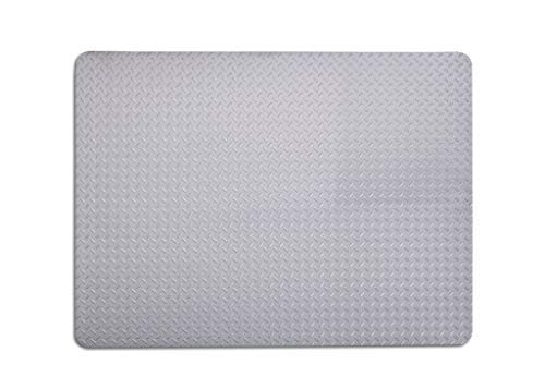 - Resilia - Garage Mat, Prevents Stains - Decorative Embossed Diamond Plate Pattern - Sliver, 3 Feet x 4 Feet
