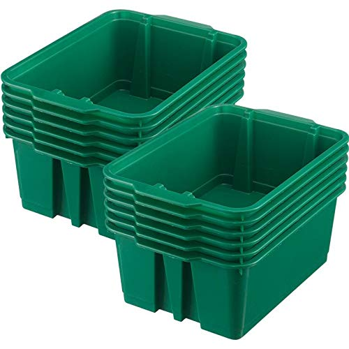 (Really Good Stuff Stackable Plastic Book and Organizer Bins for Classroom or Home Use - Sturdy, Colored Plastic Baskets (Set of 12))