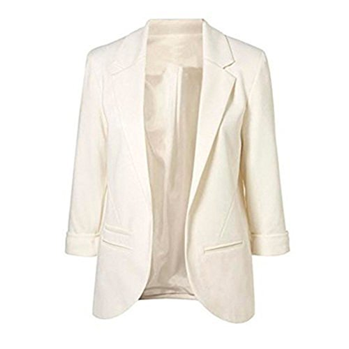 TuiFallen Women's Cotton Rolled Up Sleeve No-Buckle Blazer Jacket Suits White ()