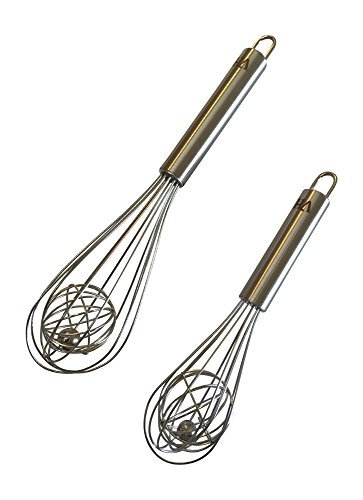 """8"""" & 10"""" Cage Whisk Combo – Beautiful, Easy to Clean, Stainless Steel, with a Brushed Satin Handle. These Whisks Work Better & Will Look Great for Years of Use. Lifetime Warr on 8"""" & 10"""" Ball Whisks"""