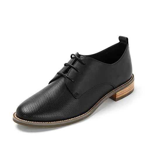 Zapato de Colegio primavera viento/Zapatos de correa redonda/Tacón plano Negro