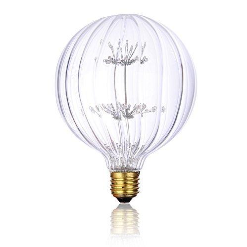 Vintage Edison Decorative Firework LED Bulbs Glass,Dimmable,Spherical Pumpkin Clear Glass E26 Base,Warm White 2200k, Antique Energy Saving Light Bulb for Christmas,Bar,Bedroom,Wedding,Living -