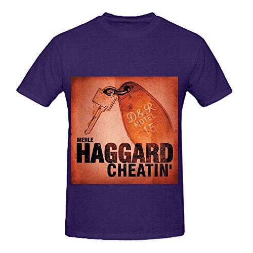 Wing Bone Tip - Merle Haggard Cheatin Funk Album Cover Mens Crew Neck Slim Fit Shirts Purple