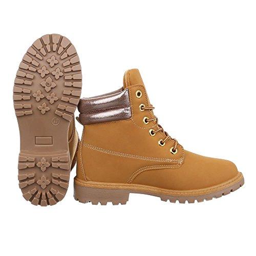 Ital-Design Schnürstiefeletten Damenschuhe Schnürstiefeletten Blockabsatz Schnürer Schnürsenkel Stiefeletten Camel Bronze