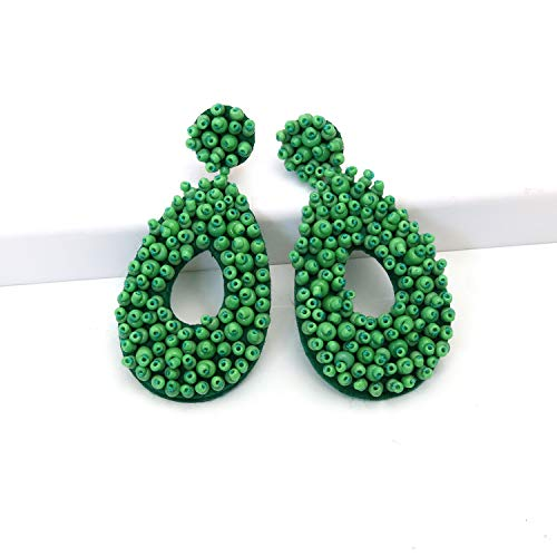 - Drop Green Statement Round Beaded Hoop Bohemia Earrings Handmade Whimsical Drop Earrings for Women Jewelry, Idear Gifts for Mom, Sisters and Friends