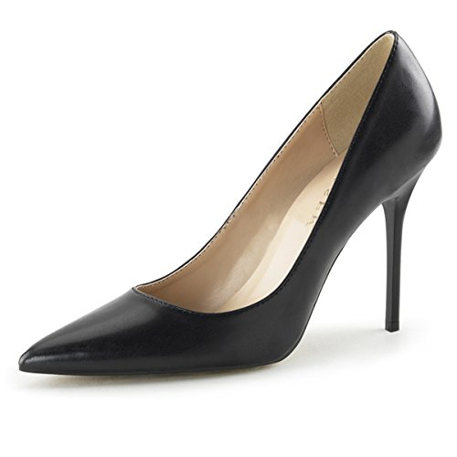 Womens Pointed Toe Shoes High Heel Pumps Classic Stilettos 4 Inch Heels Size: 13 Colors: BlackPU