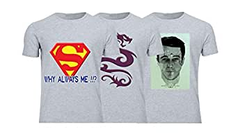 Geek ET1788 Set Of 3 T-Shirt For Men-Grey, Medium