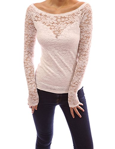 PattyBoutik Boat Neck Sweetheart Full Floral Lace Raglan Blouse Top (Ivory L)